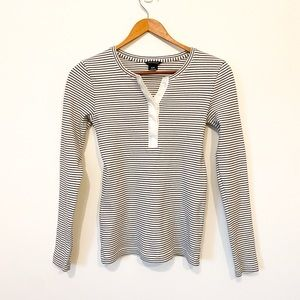 Club Monaco Striped Button Up Long Sleeve Tee